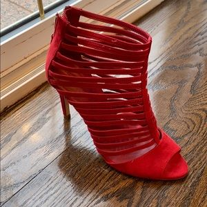 Red open toed booties